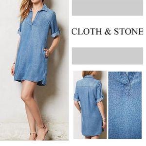 CLOTH & STONE PRINTED CHAMBRAY SHIRT DRESS SZ MED